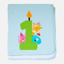 First Birthday candle and animals baby blanket
