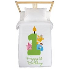 First Birthday candle and animals Twin Duvet
