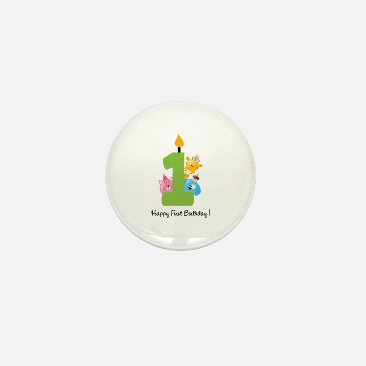 First Birthday candle and animals Mini Button