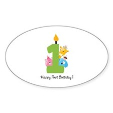 First Birthday candle and animals Decal