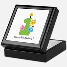 First Birthday candle and animals Keepsake Box