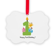 First Birthday candle and animals Ornament
