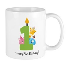 First Birthday candle and animals Mug