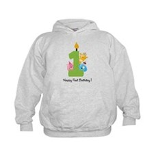 First Birthday candle and animals Hoodie