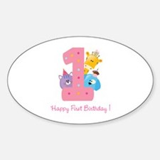 First Birthday candle and animals Sticker (Oval)