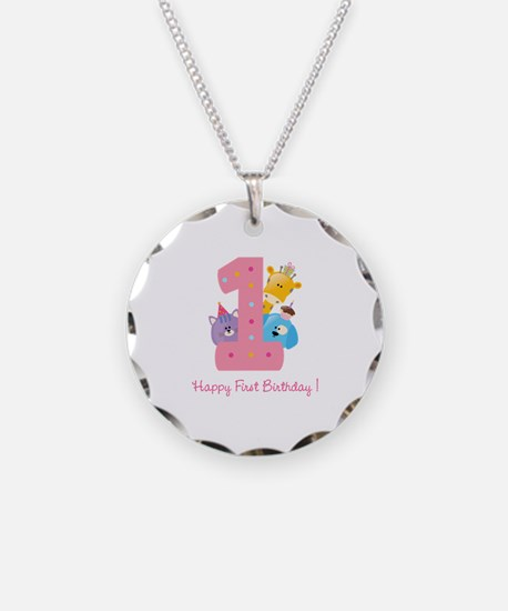 First Birthday candle and animals Necklace Circle