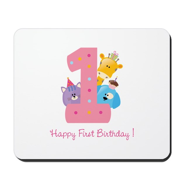 First Birthday Candle With Animals Stock Photo: First Birthday Candle And Animals Mousepad By Designalicious