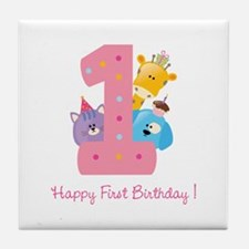 First Birthday candle and animals Tile Coaster