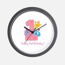 First Birthday candle and animals Wall Clock
