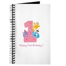 First Birthday candle and animals Journal