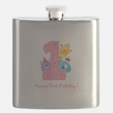 First Birthday candle and animals Flask
