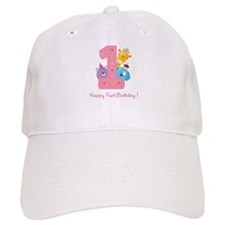 First Birthday candle and animals Baseball Baseball Cap