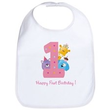 First Birthday candle and animals Bib