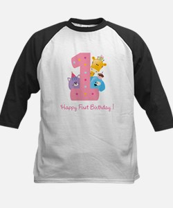 First Birthday candle and animals Tee