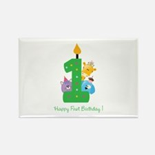 First Birthday candle and animals Rectangle Magnet