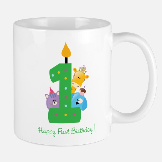 First Birthday candle and animals Mug