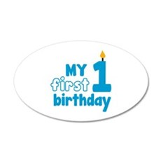 First Birthday 38.5 x 24.5 Oval Wall Peel