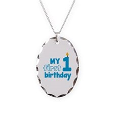 First Birthday Necklace Oval Charm