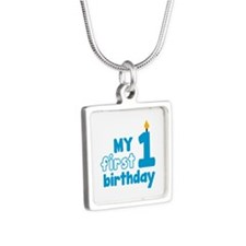 First Birthday Silver Square Necklace