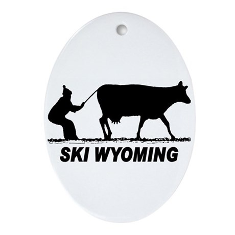 The Ski Wyoming Shop Oval Ornament