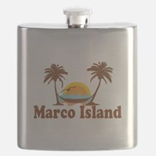 Marco Island - Palm Trees Design. Flask