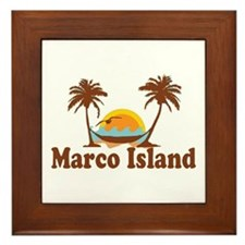 Marco Island - Palm Trees Design. Framed Tile