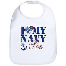 I Love My Navy Son Bib