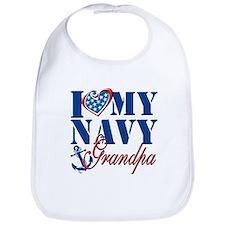 I Love My Navy Grandpa Bib