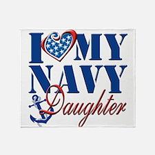 I Love My Navy Daughter Throw Blanket