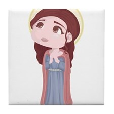 Cute Catholic Saint Genevieve Tile Coaster