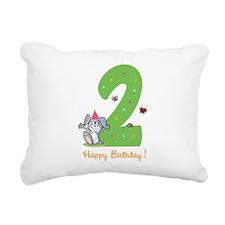Second Birthday Bunny Rectangular Canvas Pillow