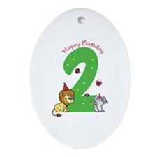 Second Birthday Leon and Bunny Ornament (Oval)