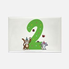 Second Birthday Monkey and Bunny Rectangle Magnet