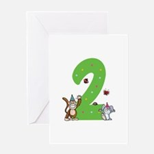 Second Birthday Monkey and Bunny Greeting Card