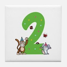 Second Birthday Monkey and Bunny Tile Coaster