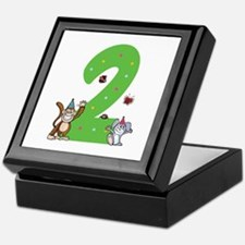 Second Birthday Monkey and Bunny Keepsake Box
