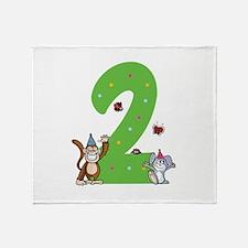 Second Birthday Monkey and Bunny Stadium Blanket