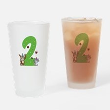 Second Birthday Monkey and Bunny Drinking Glass