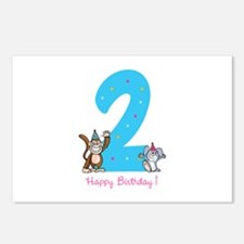 Second Birthday Monkey and Bunny Postcards (Packag