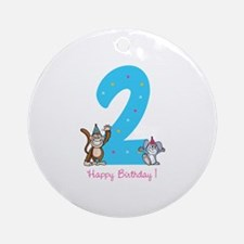 Second Birthday Monkey and Bunny Ornament (Round)
