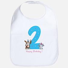 Second Birthday Monkey and Bunny Bib