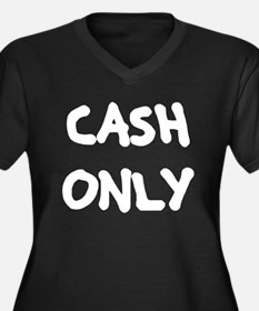 Cash Only Women's Plus Size V-Neck Dark T-Shirt