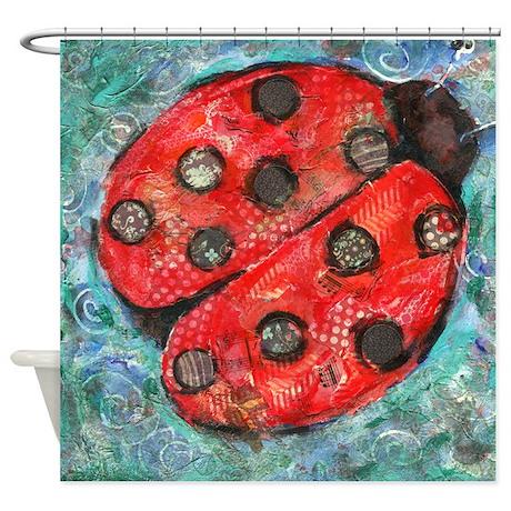 Lady Bug Bathroom Shower Curtain By Schulmanart