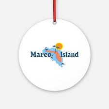 Marco Island - Map Design. Ornament (Round)