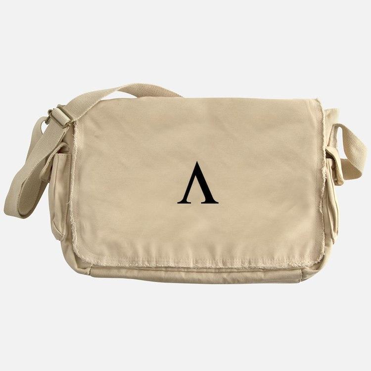 Greek Lambda Spartan Symbol Messenger Bag