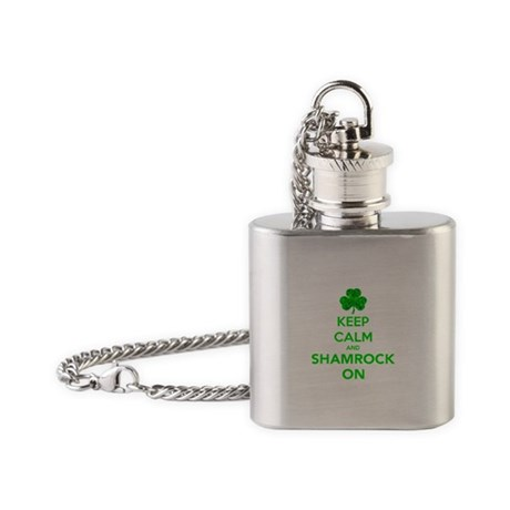 Keep Calm And Shamrock On Flask Necklace