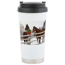 Horses looking over fence in sn Travel Mug