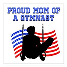 "PROUD GYMNAST MOM Square Car Magnet 3"" x 3"""