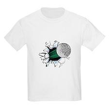 Golf Ball Ripping Through Kids T-Shirt