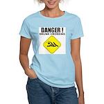 Danger! Drunk Crossing Women's Pink T-Shirt